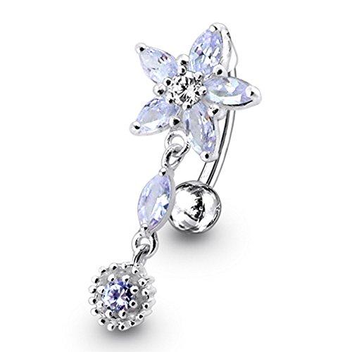 Lavendel Crystal Stein trendigen Flower Design Sterling Silber Bauch Bars Piercing