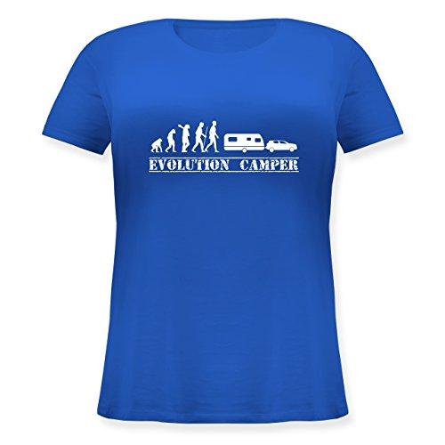 Evolution - Evolution Camper Weiß - Lockeres Damen-Shirt in Großen Größen mit Rundhalsausschnitt Blau
