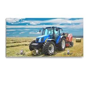 Portemanteau avec crochets inversés et 4 modèle :  tracteur
