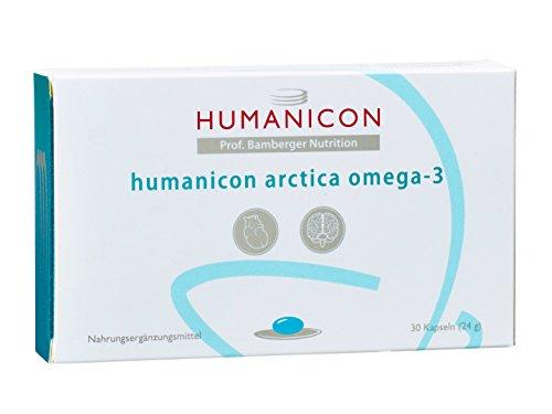 humanicon arctica omega-3 - Nahrungsergänzungsmittel mit ultrareinen Omega-3-Fettsäuren in EPAX®-Qualität - 30 Kapseln - keine Tabletten - kein Medikament