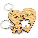 Valentine's Day Gift for Wife Husband - You Are My Missing Piece Jigsaw Heart Keyring Set Anniversary