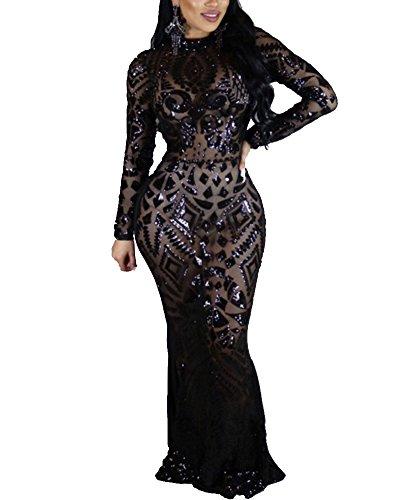 Damen Elegant Pailletten Kleid Abendkleider Langarm Cocktailkleid Prom Dress Lang Schwarz XL