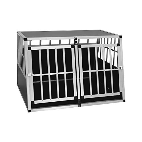 EUGAD Doppel Hundebox Transportbox Hundetransportbox Reisebox Gitterbox Alu Auto Schwarz/Silber 0004LL