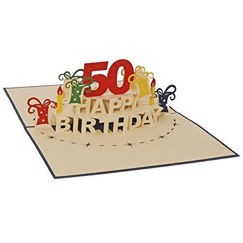 Favour Pop Up Glückwunschkarte zum runden 50. Geburtstag. Ein filigranes Kunstwerk, das sich beim Öffnen des gestalteten blauen Umschlags entfaltet. TA50B (15 x 20)