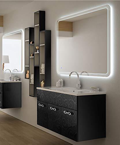 Mobile bagno sospeso moderno floreale miami nero lucido, misura cm 100, con specchio a led,lavabo e pensili