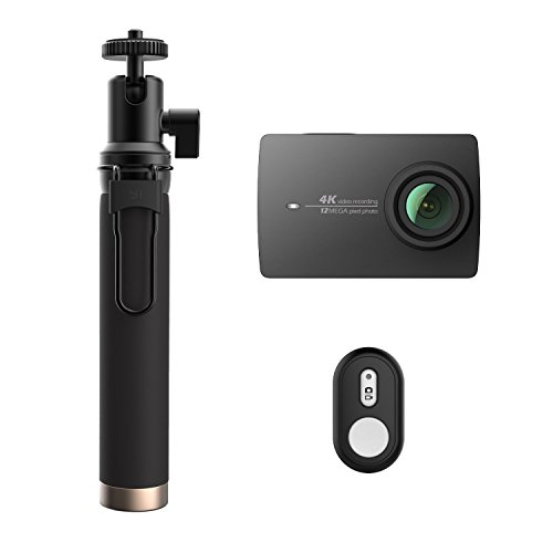 Original YI 4K Cámara Deportiva WI-FI Cámara Acción Full HD Videocámara con Selfie Stick & Bluetooth Remote Negro