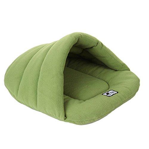 Ueetek igloo cuccia gatto cane piccolo cuscino letto sacco a pelo per cane morbido peluche cotone caldo verde m 48 x 58 cm