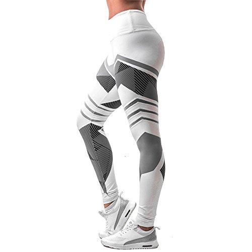Damen 3/4 Yoga Leggings Hose , Yogogo Mittlere Taille Pants | Dünne Hosen | Mesh Muster Print Fitness Leggings | Sport Fitness Workout Leggins | Elastische Dünne Hosen | Sporthose (L, Weiß)