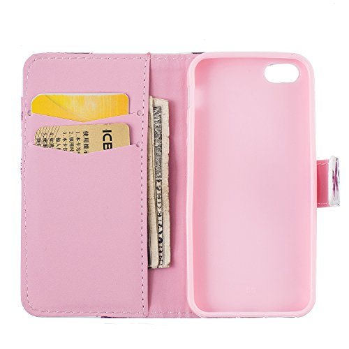 iPhone SE Hülle iPhone 5s Hülle iPhone 5 Hülle,Cozy Hut Case / Cover / Handyhülle für iPhone 5s / iPhone 5 / iPhone SE Schutzhülle, Kunstleder Ledertasche Schutzhülle Case Tasche,Bunte Drucken Muster  Kleine Pfirsich