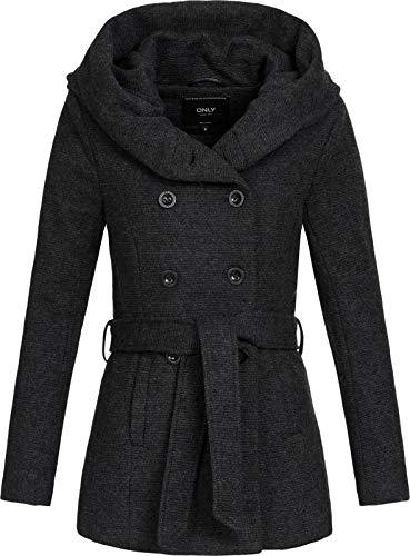 ONLY Damen Kurzer Wollmantel Lisa XL-Kapuze 15156576 Black Melange XS