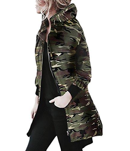 Veste Militaire Femme Vestes À Capuchon Manches Longues Zippé Fashion Casual Automne Hiver Longue Vintage Classique Camouflage Manteau Trench Parkas Jacket Outwear