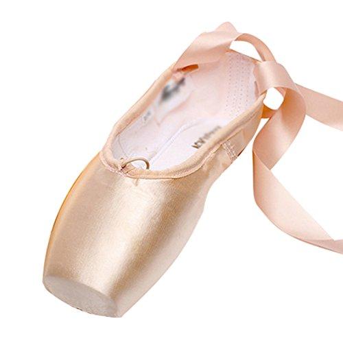 LINNUO Ballettschuhe Aus Satin mit Satinband Kinder Balletschläppchen Weich Ballet Trainings Schläppchen