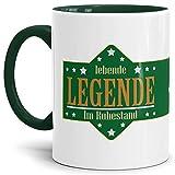 Tassendruck Geschenk-Tasse Zum Renten-Eintritt mit Lustigem Spruch:Lebende Legende im Ruhestand/Rente/Pension/Abschieds-Geschenk/Innen & Henkel Dunkelgrün