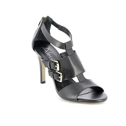 ALESYA by Scarpe&Scarpe - Zapatos de salón Altos Altas con Doble Hebilla, de Piel, con Tacones 9 cm - 37,0, Negro