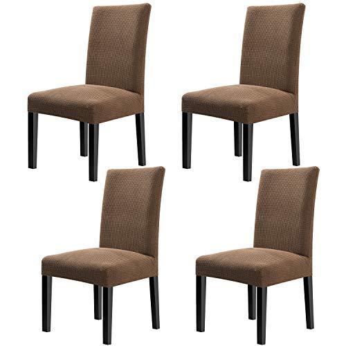 Fuloon Stuhlhussen 4er Set Universal Stretch Stuhlkissen Sessel überzug stuhlbezüge Protector Cover für Weihnachten Haus Esszimmer Moderne Hochzeit Bouquet, Hotel, Restaurant Dekor (4 Stück) -