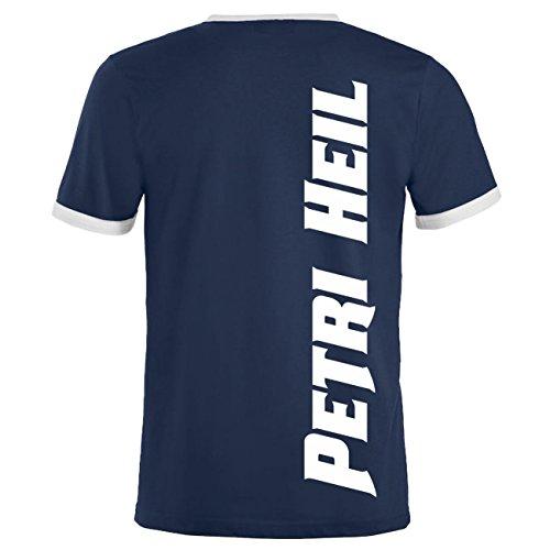 Männer und Herren T-Shirt ANGLER - so lang ich hier sitze (mit Rückendruck) Dunkelblau/Weiß