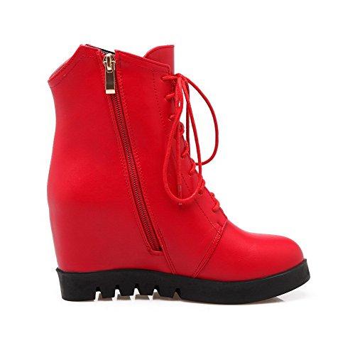 VogueZone009 Damen Rein Pu Leder Hoher Absatz Reißverschluss Stiefel mit Metallisch Rot