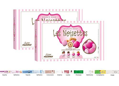 Maxtris les noisettes sfumati confetti alla nocciola 2 kg + 100 bigliettini (rosa)