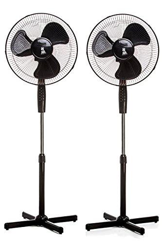 Standventilator 40 Watt Ventilator Klima Lüfter Klimagerät Windmaschine NEU (2 Stk, schwarz)
