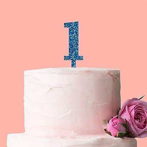 Laser Cut Number Cake Topper: Glitter Blue: Number 1