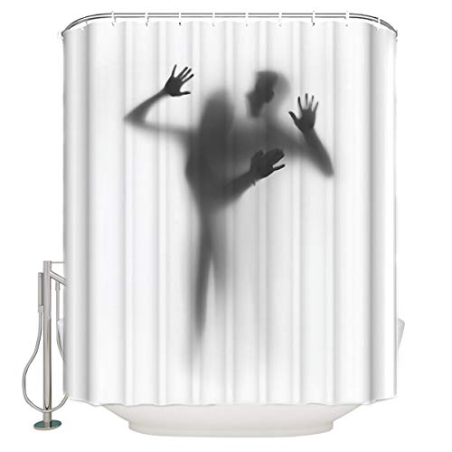 YOKOU Geweih Deko-Duschvorhang-Set Natur Wildtiere Tiere Hirsch Druck Polyester Stoff Badezimmer Duschvorhang mit Haken 60X72 inch Color13
