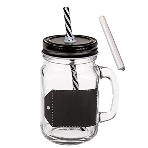 OOTB Bicchiere su Cui Scrivere, Vaso per Conserve, con Manico, Coperchio Chiusura a Vite & Cannuccia in plastica, ca. 450 ml, A: 13 cm