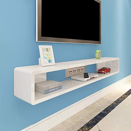 ACZZ Möbel Wandregale Wand-TV-Schrankregale TV-Hintergrund Wanddekoration Set Top Box Router DVD-Regale TV-Konsolenregale,Weiß,60 * 20 * 20 cm (Top Weinregal)