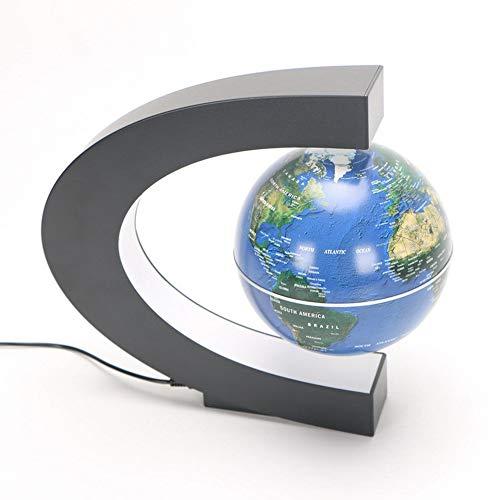 Floating Globe LED-Leuchten Magnetische Federung Floating World Map Erde C-förmige 360 ° -Drehung Leuchtende automatische Adsorption Zwei-Wege-Auswahl Schlafzimmer Wohnzimmer Office,Blue C-map Pc