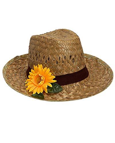 Horror-Shop Farmers Strohut mit Sonnenblume - Kostümzubehör für Fasching & Beach Party