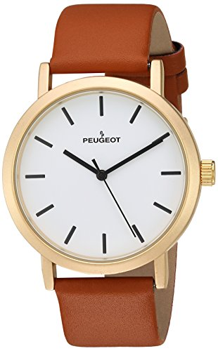 Peugeot Men's 'Matte Gold' Quartz Metal and Leather Casual Watch, Color:Brown (Model: 2059G)