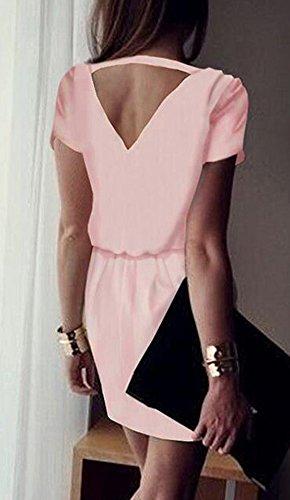 Weiblich Mode V-Kragen Halfter Chiffon Kurze Ärmel Selbstkultivierung Einfarbig Hüfte Packen Dress Mini Rosa