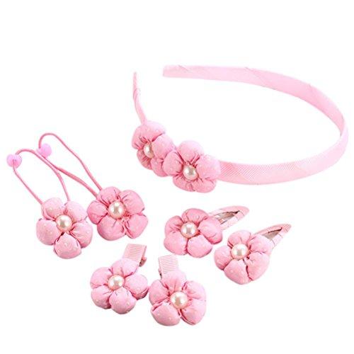 Baby Haarnadel, erthome 7pcs Kids Haarnadel Baby Mädchen Blumenmotive Haarspange Set ❤️ Baby Haar Clip (Rosa) Tutu Legging Set