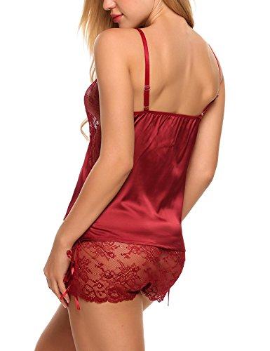 Avidlove Damen Sexy Negligee Babydoll Nachtwäsche Nachtkleid Nachthemd Kleid Lingerie Dessous Set mit Wickeloptik X-Weinrot