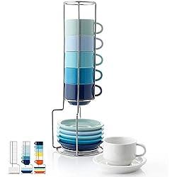 Sweese Lot de 6 tasses à expresso empilables en porcelaine avec soucoupes et support en métal - 70 cl pour boissons spéciales, café latte, moka et thé Cold Assorted