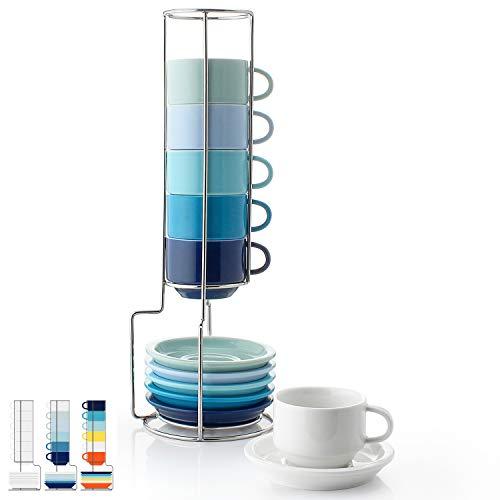 Sweese 404.003 6-teilig Stapelbare Espressotassen Set aus Porzellan, Kaffeetassen mit Untertasse und Metall Ständer, Blaue Serie, 80 ml