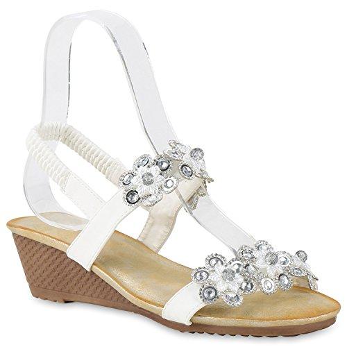 Bequeme Damen Sandaletten Keilabsatz Strass Spitze Wedges Schuhe Weiss Silber Blumen