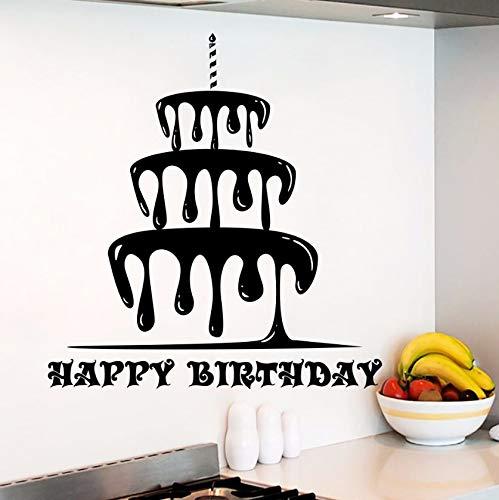 Dalxsh Wandtattoo Wohnzimmer Happy Birthday Aufkleber Kuchen Aufkleber Küche Decor Cafe Design Wand Stickrs Schlafzimmer Romantische Vinyl Kunst 56X60 Cm