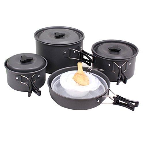 Cool&D Camping Kochgeschirr Set Tragbar Picknick Pot Picknick Topf 15-Teilig Cookware Kit für Outdoor Reise Camping 4-5 Personen