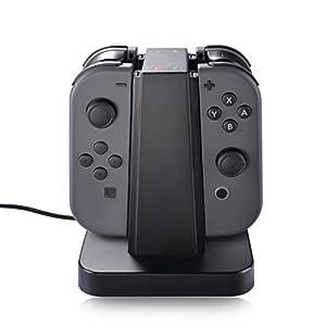 Nintendo Switch Joy Con Ladegerät Dock, Sunix 4 in 1 Ladeständer mit LED-Anzeige für Nintendo Switch Joy Con