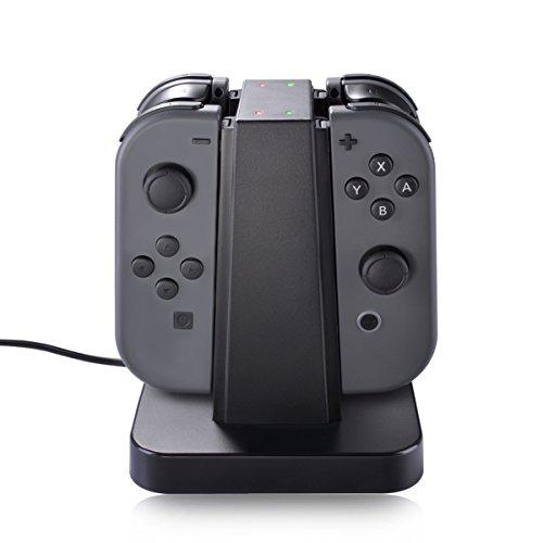 Nintendo Switch Joy Con Station de Charge, Sunix 4 en 1 Support de Recharge avec Indication LED pour Nintendo Switch Joy Con