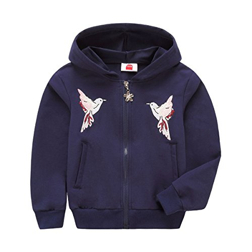 Jungen Mädchen Sports Style Hooded Sweatshirt Jacke Kapuzenpullover (Navy, 134/140) ()