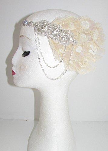 Bandeau avec chaîne en argent et plume Style années 20