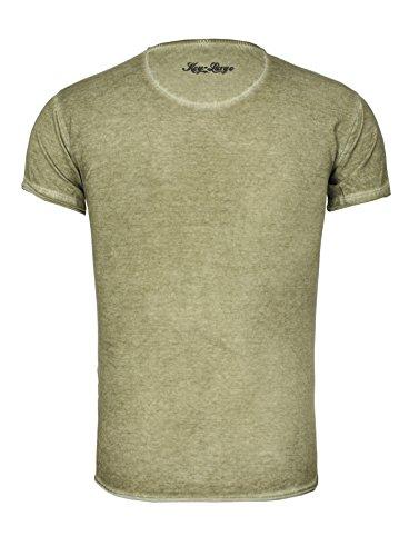Key Largo Herren T-Shirt REBEL im Vintage Look mit Tiger Print Safari Jungle Dschungel Rebell Khaki