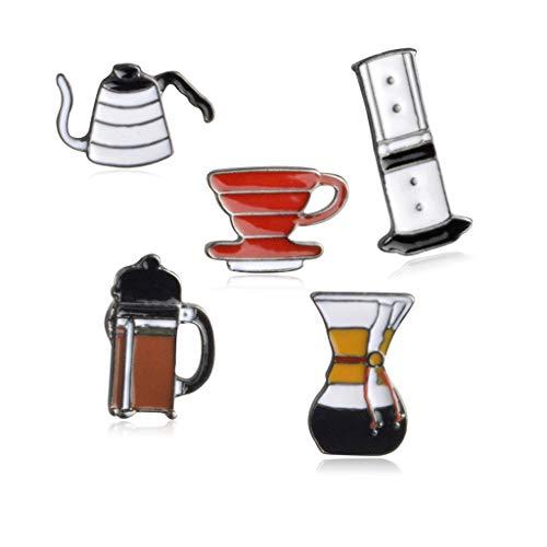 Kofun Brosche Pins, 5 Stück Cartoon Emaille Kaffee Brosche Pins Set Unisex Kleidung Dekor Schmuck -