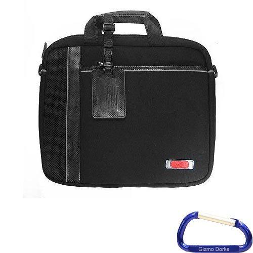 Gizmo Dorks gepolstert mit Kunstleder Trim Aktentasche (schwarz mit schwarz trim) mit Karabiner Schlüsselanhänger für 38,1cm Laptop -