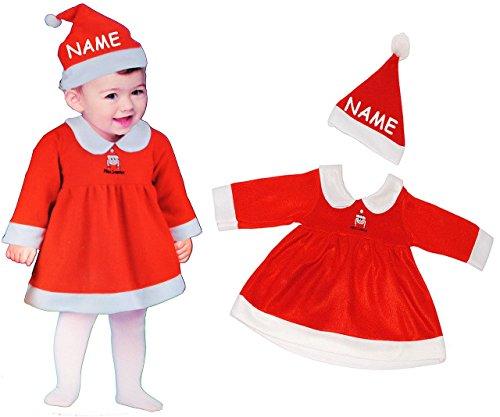 2 tlg. BABY Kostüm Weihnachtsfrau - 1 bis 2 Jahre - Gr. 80 - 92 - incl. Name - Karneval / Weihnachten / Nikolauskostüm / Weihnachtselfe / Nikolaus - Kleid (Für Halloween Namen Mädchen)