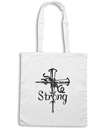 T-Shirtshock - Borsa Shopping FUN1101 cross strong decal 27903 Bianco