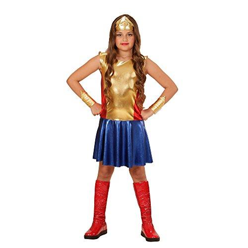 Widmann 01138Costume pour Enfant/Fille Thème Super-héroRobe, Manchettes et Bandeau Doré