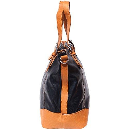 Sac à main porté épaule avec double lanière en cuir 6140 Noir-cognac