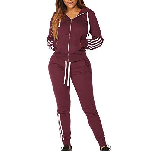 Damen Sportanzüge Jogging Anzug Trainingsanzug Mode Streifen Zipper Langarm Kapuzenpullover Hoodie Sweatshirt + Lange Hose Sportswear 2 Set (S, Rot) - Floral Print Cropped-jacke